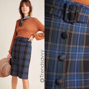NWT ANTHROPOLOGIE Button Front Midi Skirt Size 14